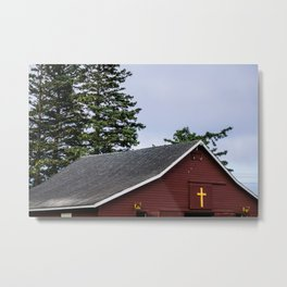 Cross and Barn Metal Print