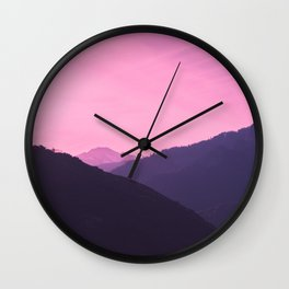 Pink Layers of the Sunset in the Sierra Nevada Mountains Wall Clock