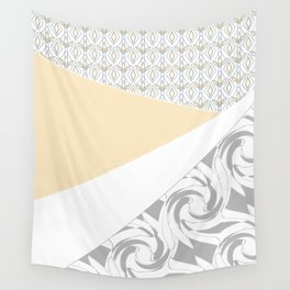 Light grey patchwork beige Wall Tapestry