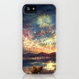 Viewing Gorgeous Lightshow At Marvellous Evening Red Sunset Cartoon Scenery Ultra High Resolution iPhone Case