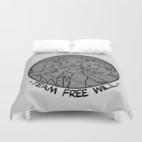 sam winchester Duvet Covers featuring [ Supernatural ] Castiel Dean Sam Winchester Team Free Will by Vyles