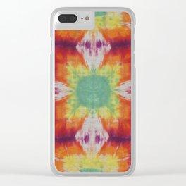 Kaleidoscope Fractal Tie Dye Green Yellow Orange Purple Clear iPhone Case