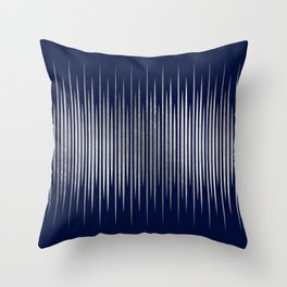 Linear Blue & Silver Throw Pillow