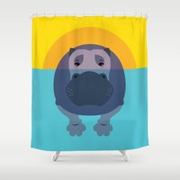 hippo Shower Curtains featuring Hippo by Steph Dillon