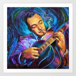 Gypsy Jazz Guitarist Django Reinhardt by Robert Phelps Art Print