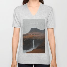 Gasadalur, Faroe Islands Artwork Unisex V-Neck