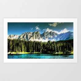 Carezza Lake Dolomites, Italy Landscape Painting by Jeanpaul Ferro Art Print