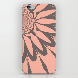 Modern Flower Peach and Gray iPhone Skin
