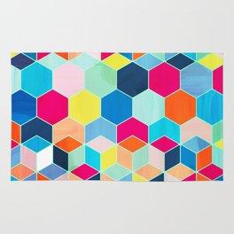 Super Bright Color Fun Hexagon Pattern Rug