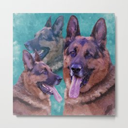 German Shepherd Dog - GSD - Digital Art Collage Metal Print