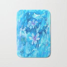 Blue encaustic flowers Bath Mat