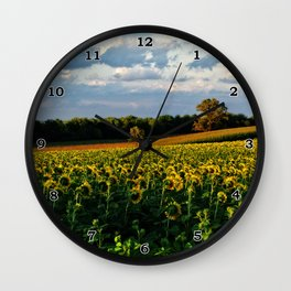 Summer sunflower field Wall Clock