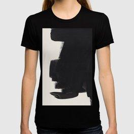 Mid Century Modern Minimalist Abstract Art Brush Strokes Black & White Ink Art Colorfield T-shirt