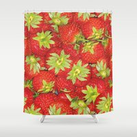 strawberry Shower Curtains featuring Strawberry by ViconiaMcAliens