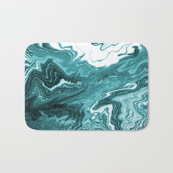 Yumiko - spilled ink painting abstract minimal ocean wave water sea monochromatic trendy hipster art Bath Mat