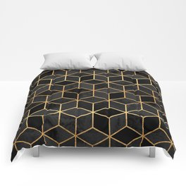 Black Cubes Comforters