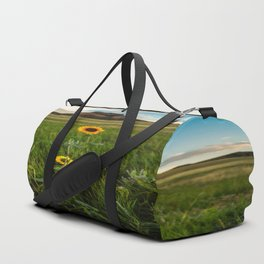 Sunflowers on the Western Prairie - Flowers and Landscape Near Scottsbluff Nebraska Duffle Bag