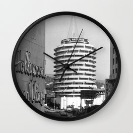 Capital Records Building, Los Angeles, California black and white photograph / black and white photography Wall Clock