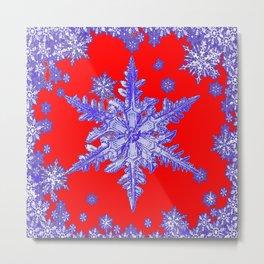DECORATIVE PURPLE TINTED SNOWFLAKES ON RED Metal Print