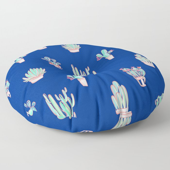 Little cactus pattern - Princess Blue Floor Pillow
