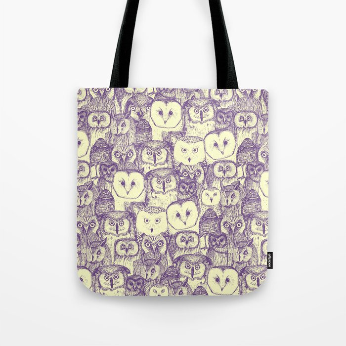 just owls purple cream Tote Bag