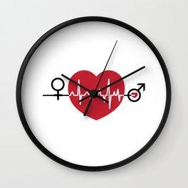 Love hearts EKG Wall Clock