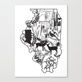 Illinois Wycinanki Canvas Print