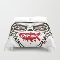 obama Duvet Covers featuring Zombie Obama - Healthscare by Granman