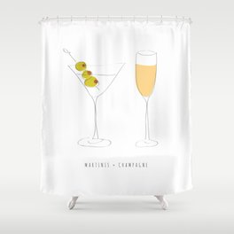 Martinis + Champagne Shower Curtain