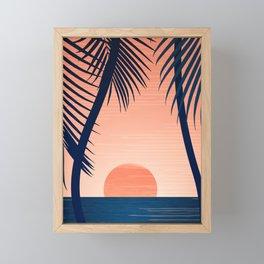 Sunset Palms - Peach Navy Palette Framed Mini Art Print
