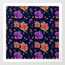 Vintage navy blue red purple botanical floral pattern Art Print