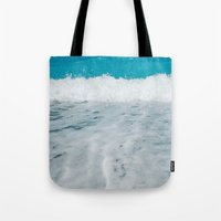 wave Tote Bags featuring Wave by SensualPatterns