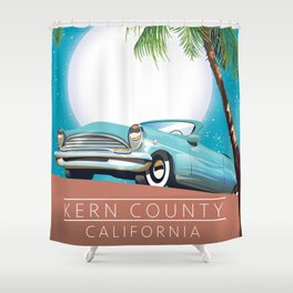 Kern County California vintage style travel poster Shower Curtain