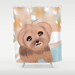 Smiling Yorkie Shower Curtain