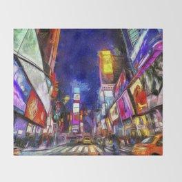 Times Square New York Art Throw Blanket