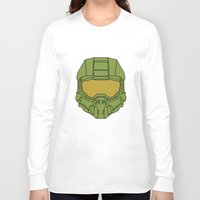 master chief Long Sleeve T-shirts featuring Master Chief Helmet - Halo MCC by RoboKev