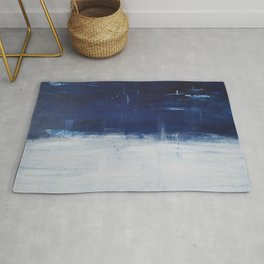 Blue White Abstract Painting Rug