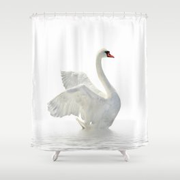 WHITE ON BEAUTIFUL SWAN Shower Curtain