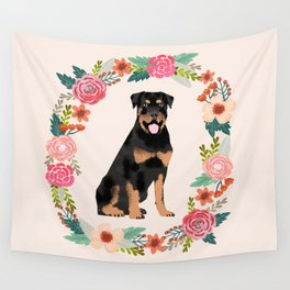 rottweiler floral wreath dog breed pet portrait pure breed dog lovers Wall Tapestry