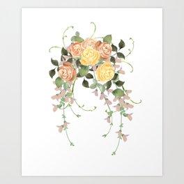 Watercolor rose flowers bouqet Art Print