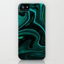 Teal Liquefy Pattern iPhone Case