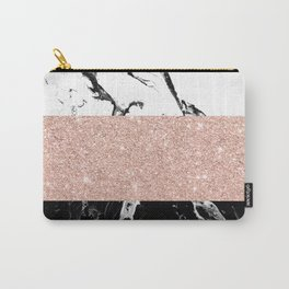 Modern black white marble rose gold color block stripes pattern Carry-All Pouch