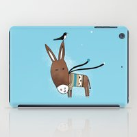 donkey iPad Cases featuring Happy Donkey by Kristina Sabaite