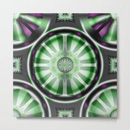 Pinwheel Hubcap in Green Metal Print