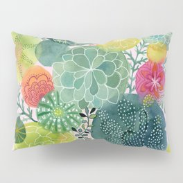 Succulent Circles on Pink Pillow Sham