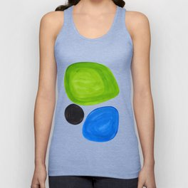 Mid Century Vintage Abstract Minimalist Colorful Pop Art Lime Green Phthalo Blue Black Bubbles Unisex Tank Top