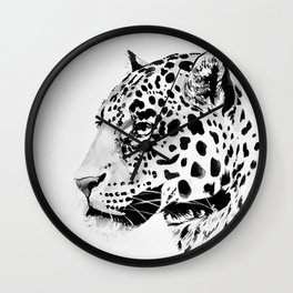 Watercolor Leopard (Black and White) Wall Clock