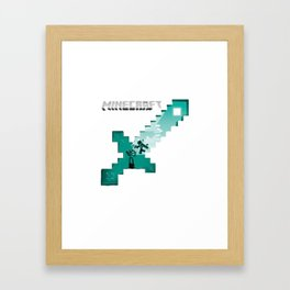 Diamond sword mine Framed Art Print