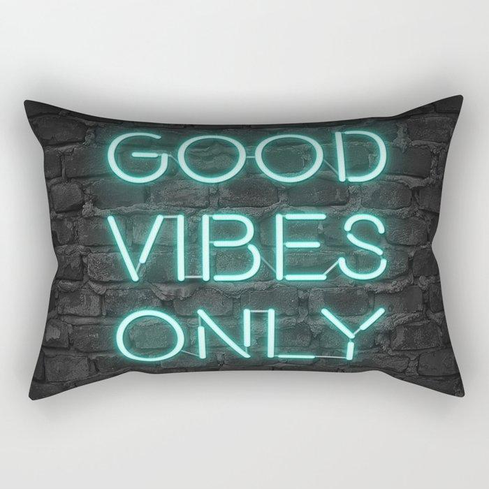 Neon Good Vibes - Teal Rectangular Pillow