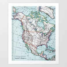 Colorful Vintage North America Map Art Print